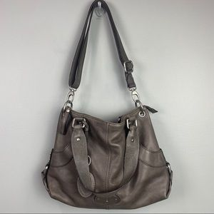 FOSSIL Key Per Gray Pebbled Leather Bag Purse